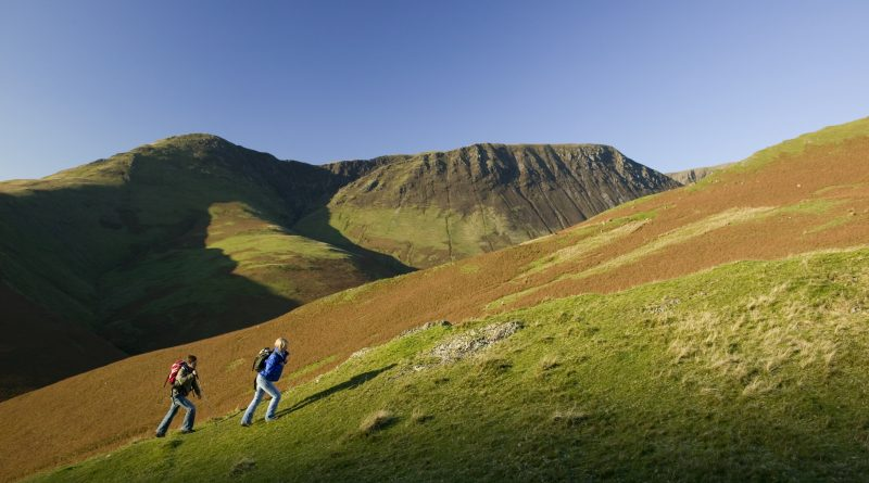 Couple walking on Newlands Hause. Photo by Tony West.